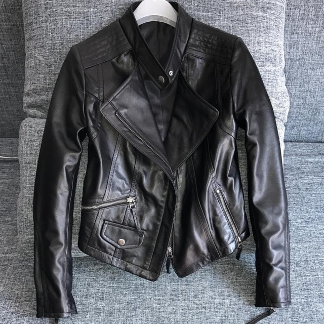 11 11 Super Sale Cheap Genuine Leather Jacket Women Motor Ladies