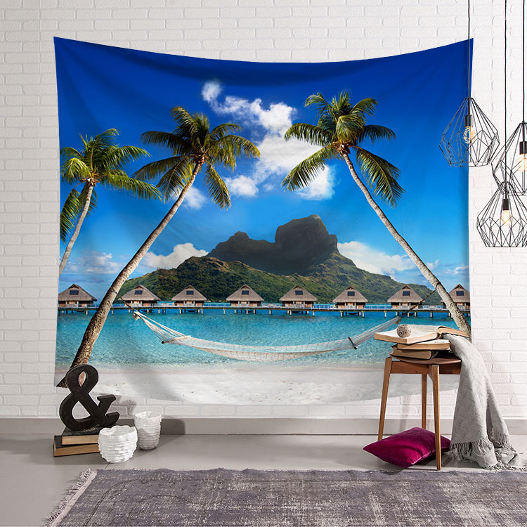 Image 5 - CAMMITEVER Blue Sky White Cloud Sea Beach Coconut Tapestry Wall Hanging Scenic Tapestries Bedspread Picnic Bedsheet Blanket-in Tapestry from Home & Garden