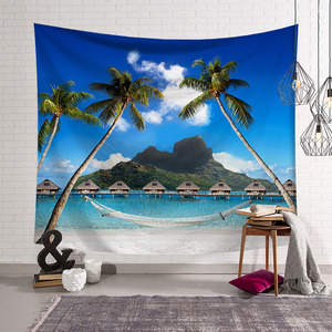 Image 5 - CAMMITEVER Blue Sky White Cloud Sea Beach Coconut Tapestry Wall Hanging Scenic Tapestries Bedspread Picnic Bedsheet Blanket