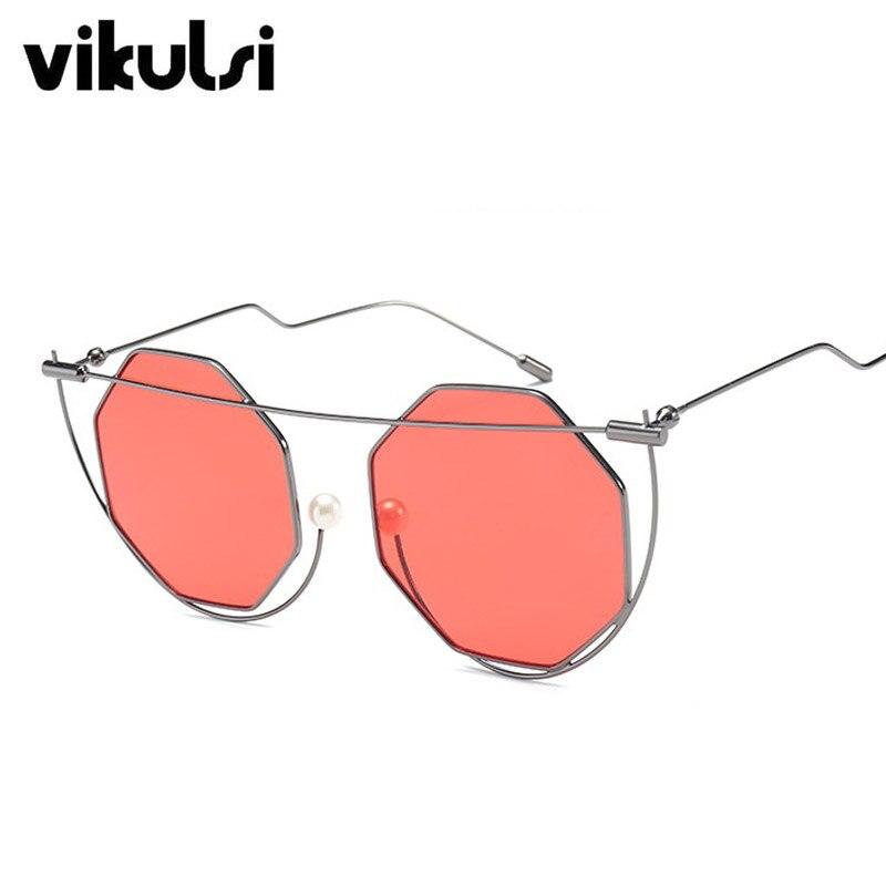 Nouveau Polygone Cat Eye Femmes lunettes de Soleil Marque Gradient Perle lunettes de Soleil Femmes Lunettes Vintage Surdimensionné lunettes de Soleil Oculos De Sol