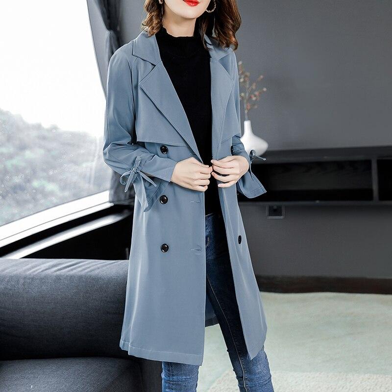 Coupe vent Trench Slim Printemps Manteau Élégant Style breasted Femelle Double Automne Design Angleterre Long 2018 Office Pengpious Lady Pxq7Zwgn