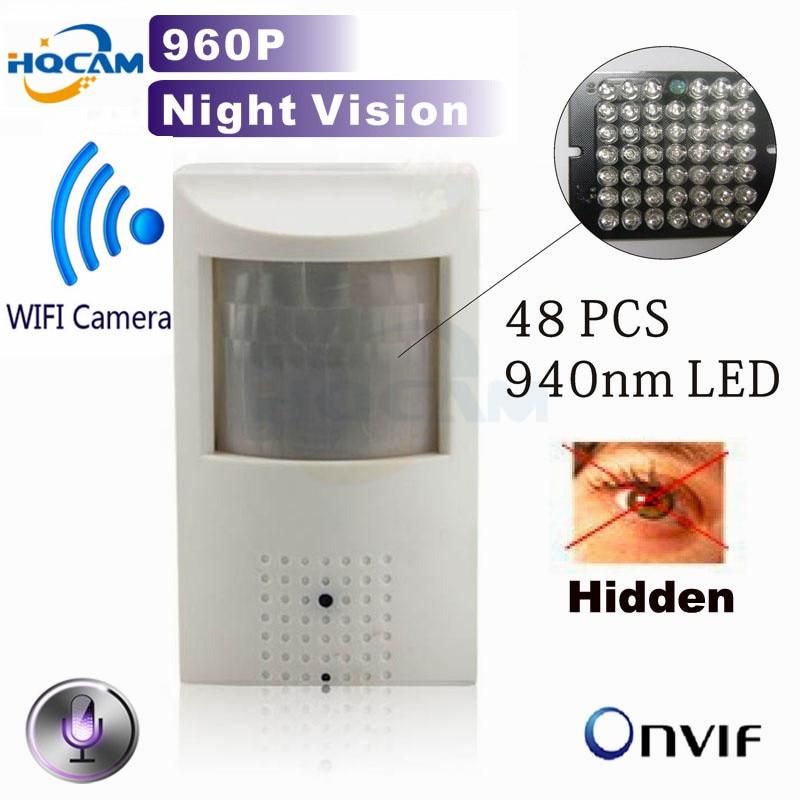 Hqcam 960 P Беспроводной мини ip-камеры WiFi 940nm LED безопасности ПИР сети Камера ночного видения Камера ПИР ИК IP-камера PIR движения