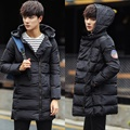 Мода плечо вышивка доска с капюшоном длинные пальто мужчины зима сгущает мужская хлопка-ватник мужская одежда размер m-5xl MF15-1