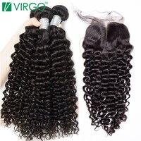 Brazilian Hair Weave Bundle With Closure 3 Bundles Human Hair 4 pcs/lot Deep Wave Bundles With Closure Virgo Non Remy Extension