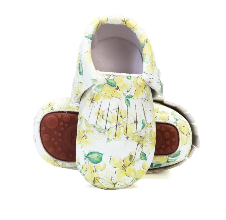Floral printing PU leather baby moccasins hard sole fringe toddler baby girls boys shoes 0-4 years little kids outdoor shoes