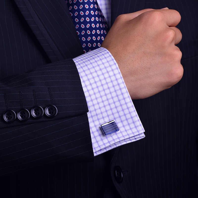2019 jóia NOVA camisa abotoaduras para mens Marca botão manguito rotador link BlueStripe Concave gemelos abotoaduras Jóias de Alta Qualidade