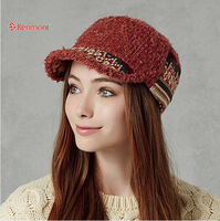 Kenmont Autumn Winter Women Girl Lady Wool Polyester Cadet Peak Military Cap Visor Hat Adjustable 2332