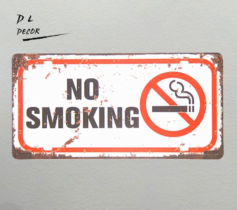 DL-не курить Предупреждение Доска номерных знаков Винтаж Олово знак магазин кофе открытый бляшек стены