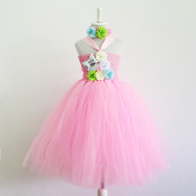 Baby Tutu Kleid rosa mit weißen Rose Mädchen Blume Kleid Geburtstag ...