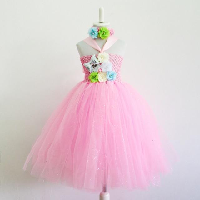 Vestido de Partido del bebé Del Tutú de color rosa con blanco Rosa ...