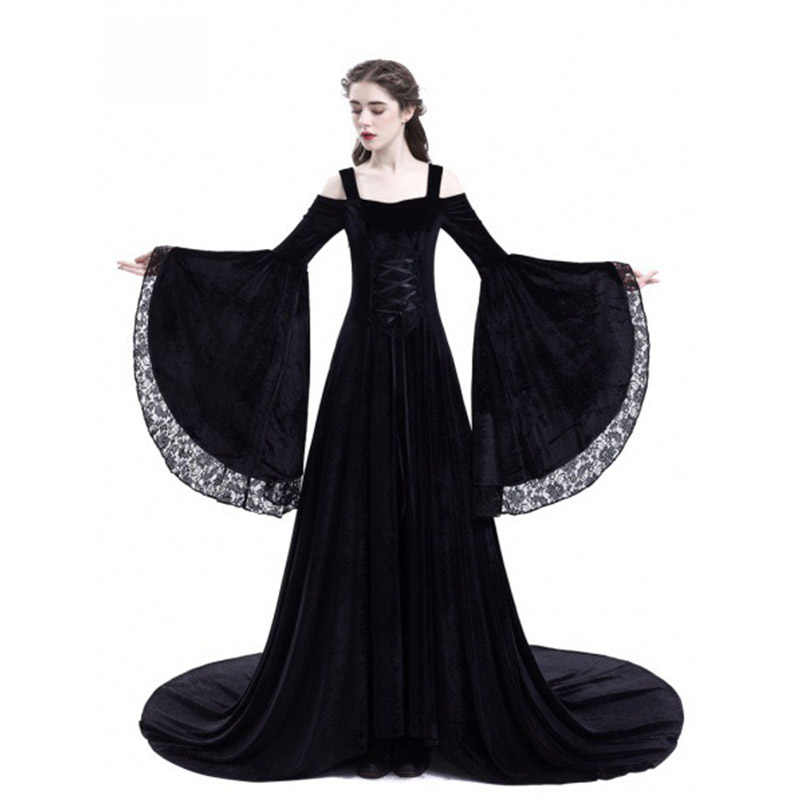 f6401aa22e9 New Medieval Costumes for Women Princess Dress 2018 Plus Size Adults Gothic  Queen Lace Fancy Party