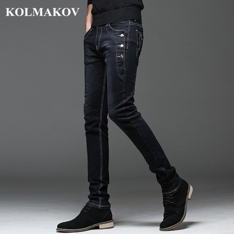KOLMAKOV 2019 New Mens Denim Jeans Straight Full Length Pants With High Elasticity Slim Pants For Man Fashion Mid-waist Jeans