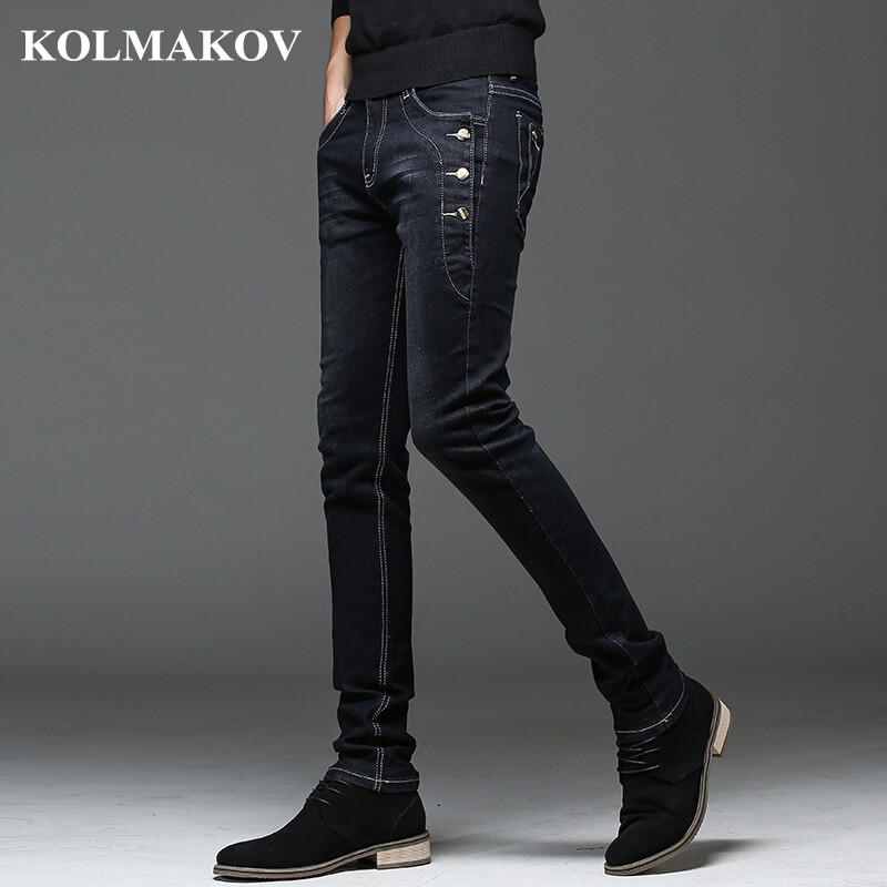 KOLMAKOV 2019 New Mens Denim Jeans Straight Full Length Pants With High Elasticity Slim Pants For Man Fashion Mid-waist Jeans