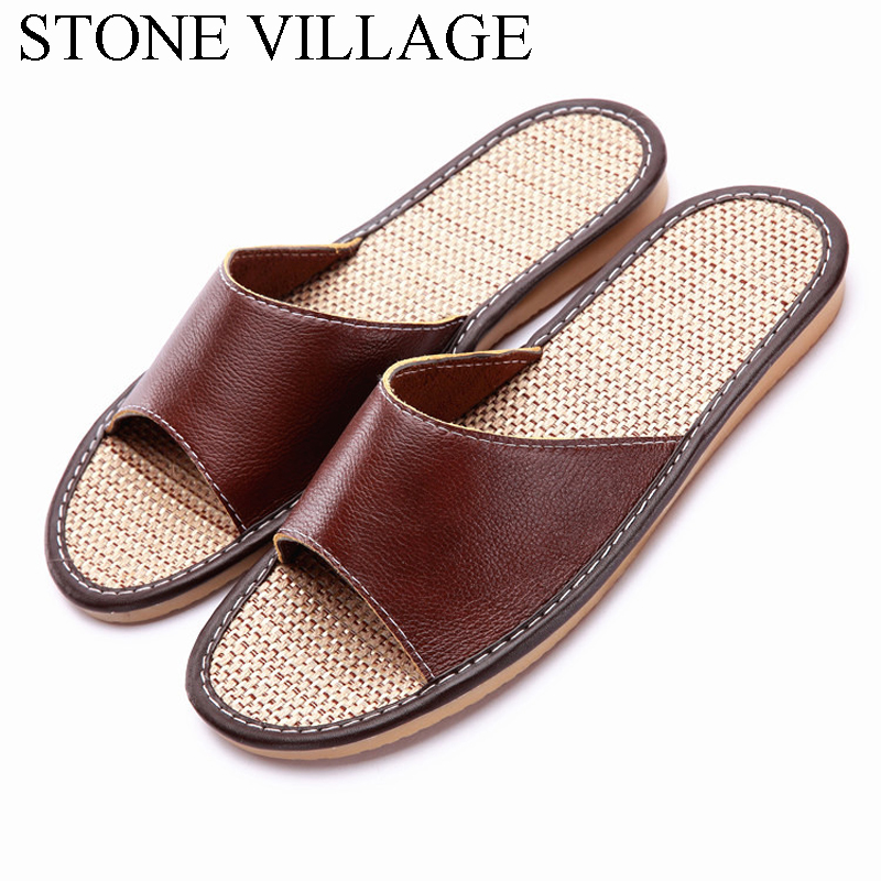 High quality genuine leather slippers unisex women men for How to keep shoes from slipping on floor