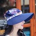 Летнее солнце для женщин соломы шапки с цветочным печатных открытый вс шляпы большой краев причинно Cap