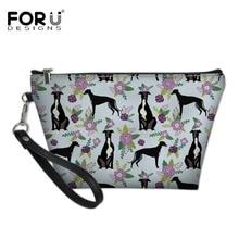FORUDESIGNS Greyhound Black Floral 2018 Women Cosmetic Bag Travel Makeu