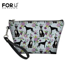 FORUDESIGNS Greyhound Black Floral 2018 Women Cosmetic Bag T