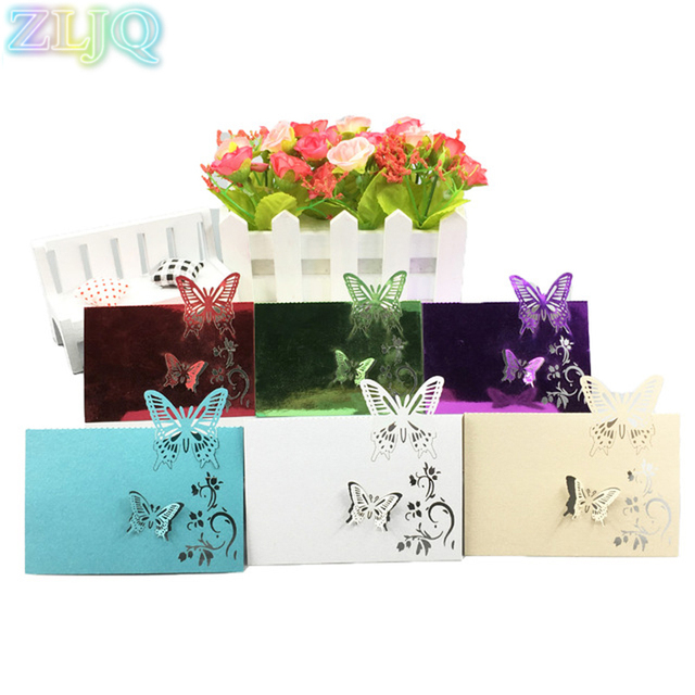 ZLJQ 100pcs Wedding Table Name Card Fashion Butterfly Invitations Christmas Birthday Party Supplies Navidad Decoracion