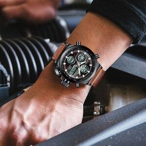 Image 3 - MEGALITH שעון גברים צבאי ספורט עמיד למים שעוני יד LED הדיגיטלי משולב שעון זכר שעון חום אמיתי עור שעון