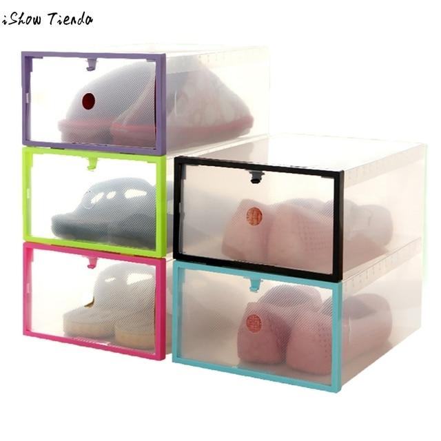 Newest Friendly Shoe Storage Box Case Transparent Plastic Storage Box  Rectangle Shoe Organizer Foldable Stackable Shoe