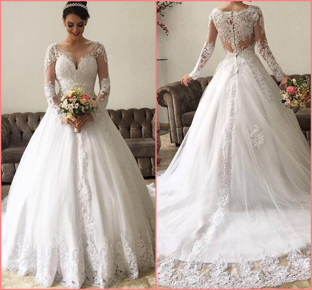Robe De Mariage Ball Gown White Lace Appliques Long Sleeve Wedding Dress Modest Muslim Women Princess Beaded Bride Gowns On Sale
