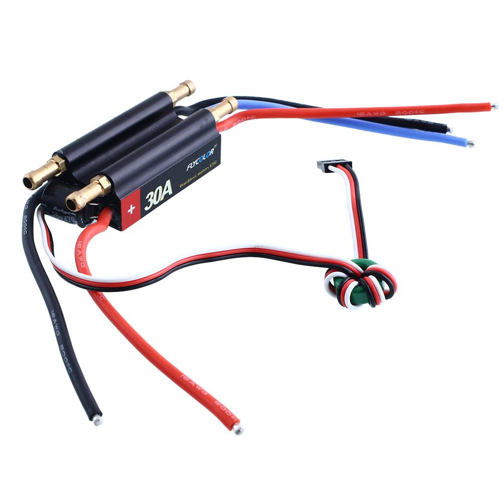 FlyColor 30A Brushless Speed Controller ESC 5V/3A BEC (2-4S) For RC Boat Model 2016 flycolor 90a brushless waterproof alu alloy electronic speed control esc with 5 5v 5a bec for rc boat aircraft free ship