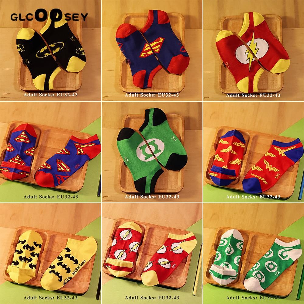 DC Men Socks Cotton Calf Sock Ankle Socks Marvel Hero Series Spiderman Joker Superman Batman Wonder Woman Flash As Gifts