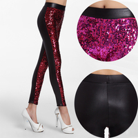 Women S Night Club Sexy Skinny Leggings Shiny Sequins Front PU Faux Leather Pencil Pants High
