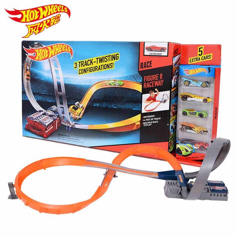 Hot Wheels ronda, aby śledzić plastikowe metalowe miniatury samochody kolejowego brinquedo Educativo Hotwheels zabawki dla dzieci X2586 w Odlewane i zabawkowe pojazdy od Zabawki i hobby na  Grupa 1