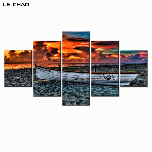Canvas Painting Wall Art Sailboat Pink Clouds Beach Sunset Wall Pictures  For Living Room Or Bedroom
