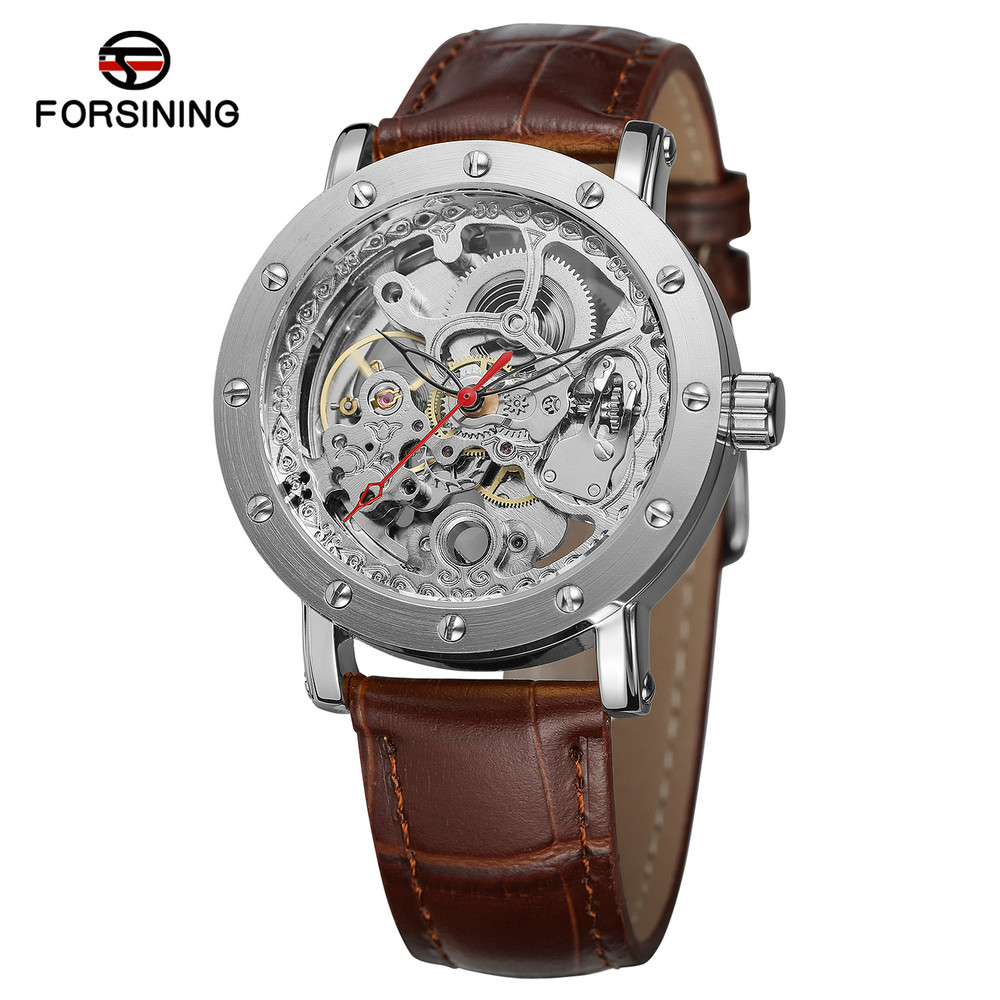 Forsining men luxury automatic mechanical watch leather military watches classic skeleton self for Classic skeleton watch
