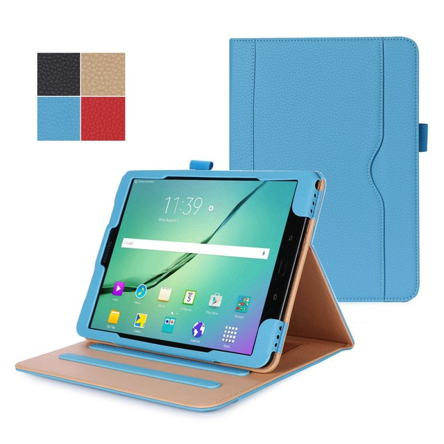 buy online 670d9 aaff3 US $19.54 |Multi Angle Viewing Magnetic Smart Folio Case Stand Cover With  Hand Strap S Pen Holder For Samsung Galaxy Tab S3 9.7 T820 T825-in Tablets  & ...