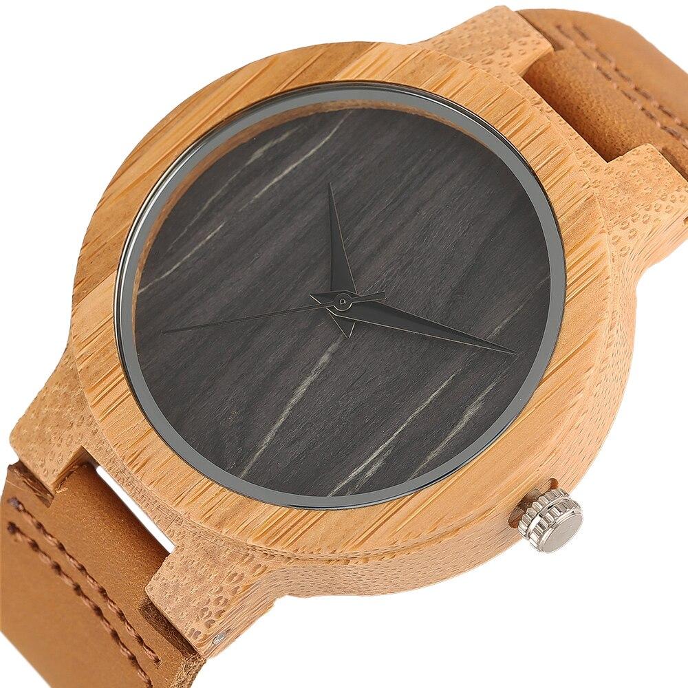 ec5abdd662c Simples De Madeira Relógios de Madeira Natureza Genuína Alça De Bambu Padrão  de Couro Banda Relógio de Pulso de Quartzo Analógico Mulheres Homens Bangle
