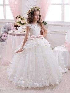 Image 1 - Stunning Bianco Bambini Prima Comunione Abiti per le Ragazze 2017 Ball Gown Rosa Cintura Con Fiocco Elegante Flower Girl Dress Per Matrimoni
