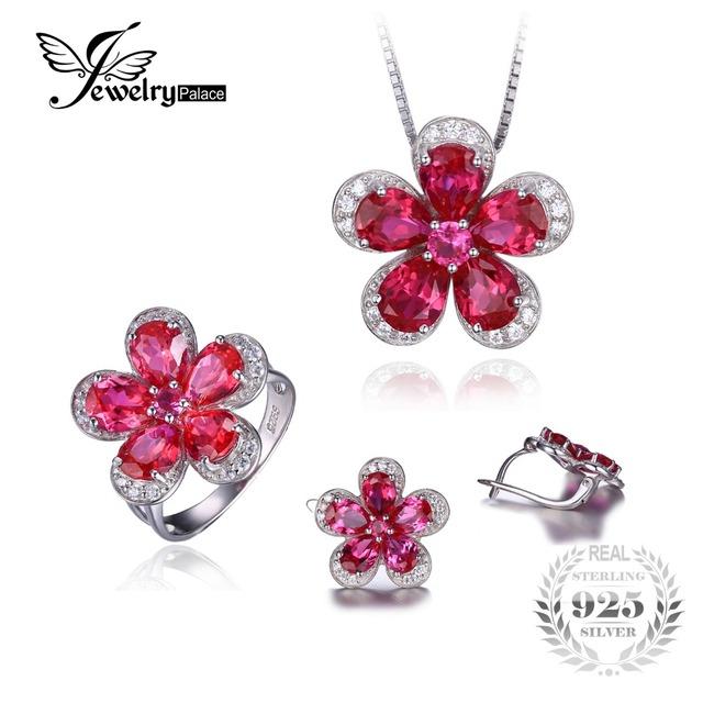 Jewelrypalace brillante creado rubí anillo en forma de flor pendiente pendiente de la joyería 925 de plata esterlina joyería fina para las mujeres