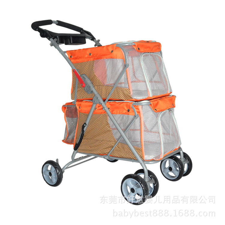 Double Pet Stroller Folding Trolley Dog Cat Outdoor Travel Four wheeled Cart High Capacity Pet Supplies Product Cats Dogs Cage