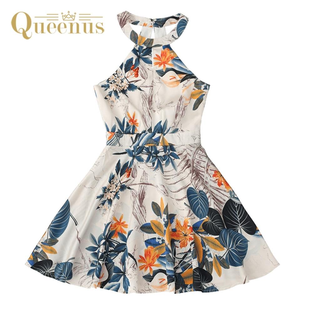 QUEENUS Summer Dress sarafan Halter Flowers Printed mini Dresses for Women robe femme Sexy Back Holllow out Vintage Aline Dess