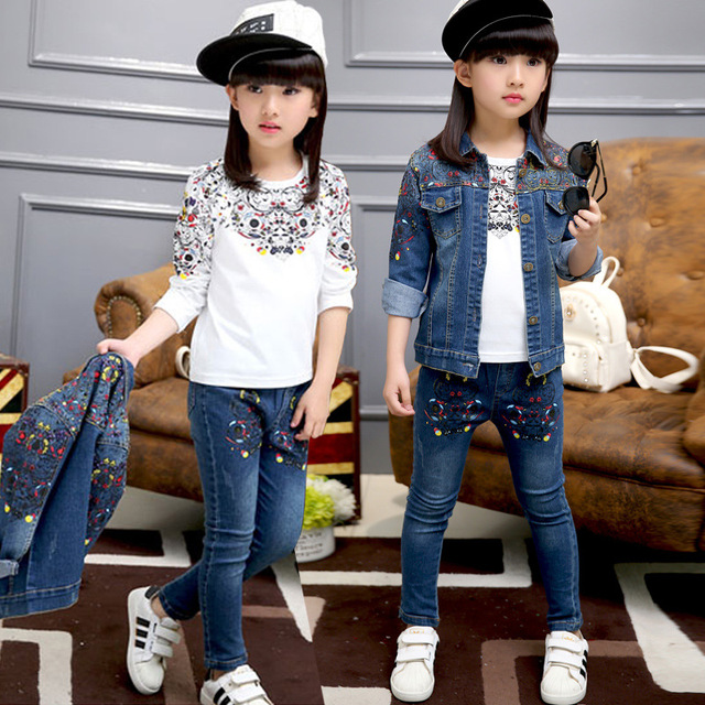 Kids Girls Flower Clothing Sets 3Pcs Jeans Jackets + denim pants skinny jeans for girls causal autumn coat white printed Tshirts