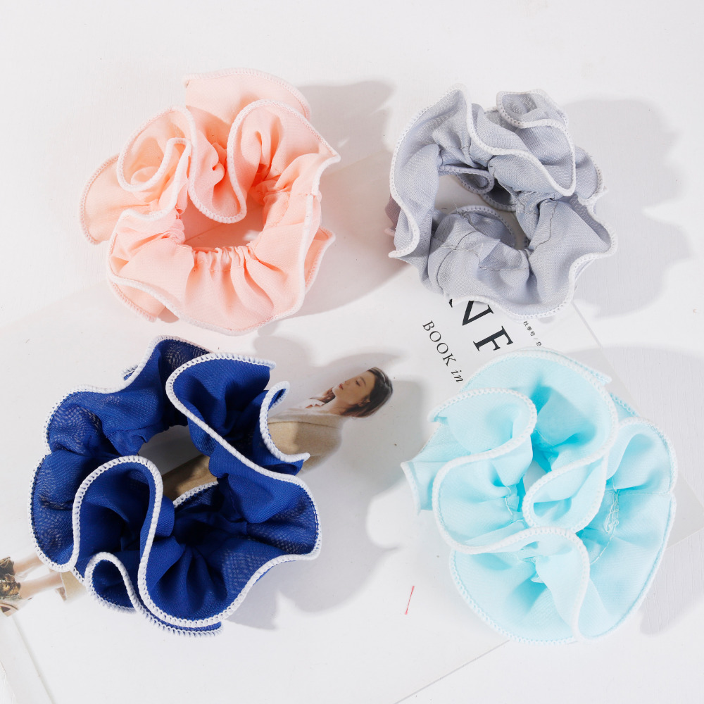 Fashion Summer Women Ladies Elastic Hair Bands Chiffon Hair Scrunchies   Headwear   High Quality Hair Ties Ropes Factory Wholesale