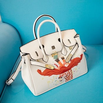 2016 Painting handbags women famous brands 30CM silver lock bag designer High quality leather shoulder bag tote bag with scarf