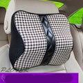 Cuero genuino Asiento de Coche Cuello Almohada Cojín Almohadas Cuello Auto Almohada Reposacabezas de Coche Universal de Protección de Seguridad Negro