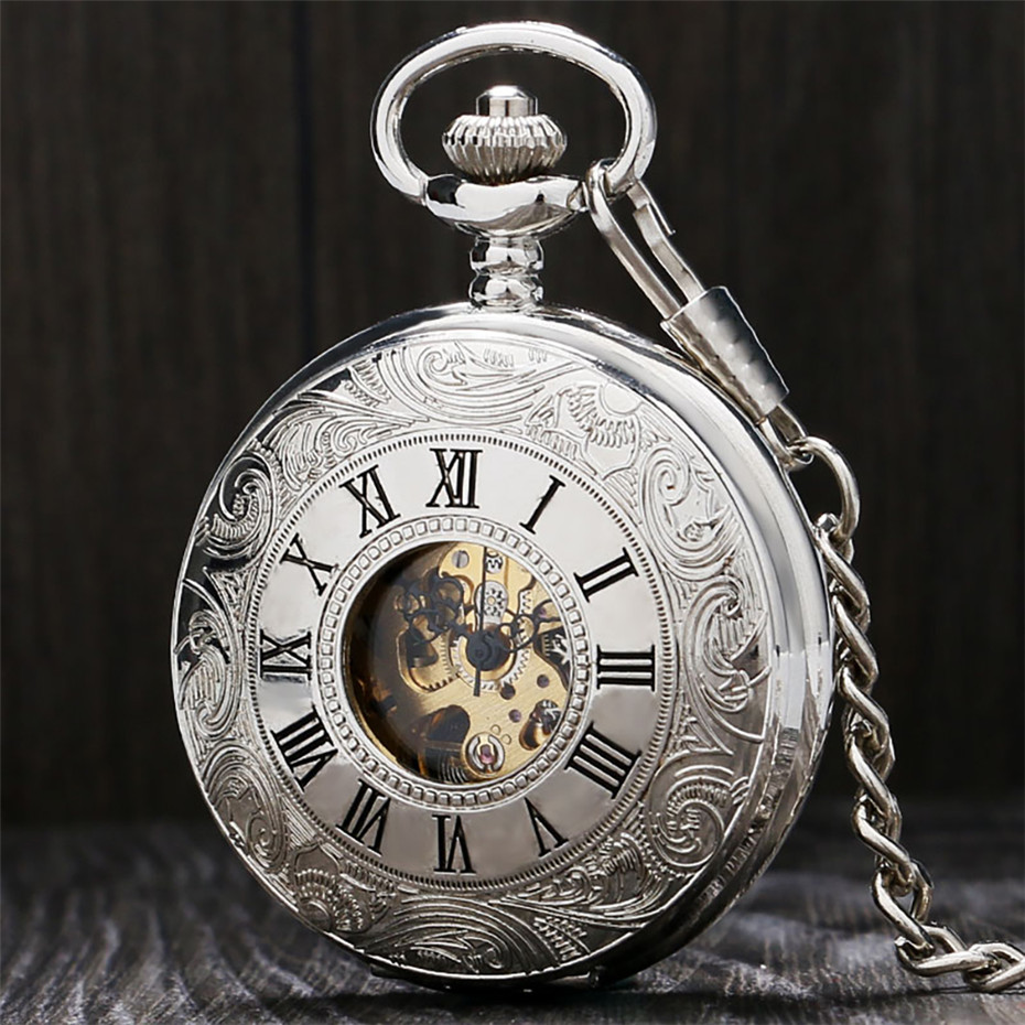 Silver Hand Winding Mechanical Pocket Watch Roman Numerals Display Punk Pendant Men Clock Vintage Fashioned Watch 30 Cm Chain