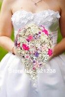 Фиолетовый и Розовый Свадебные Тяжелая сборки люкс с цветами в руках, свадебные брошь букет, поставка мужчины корсажи. новый Год Предложени
