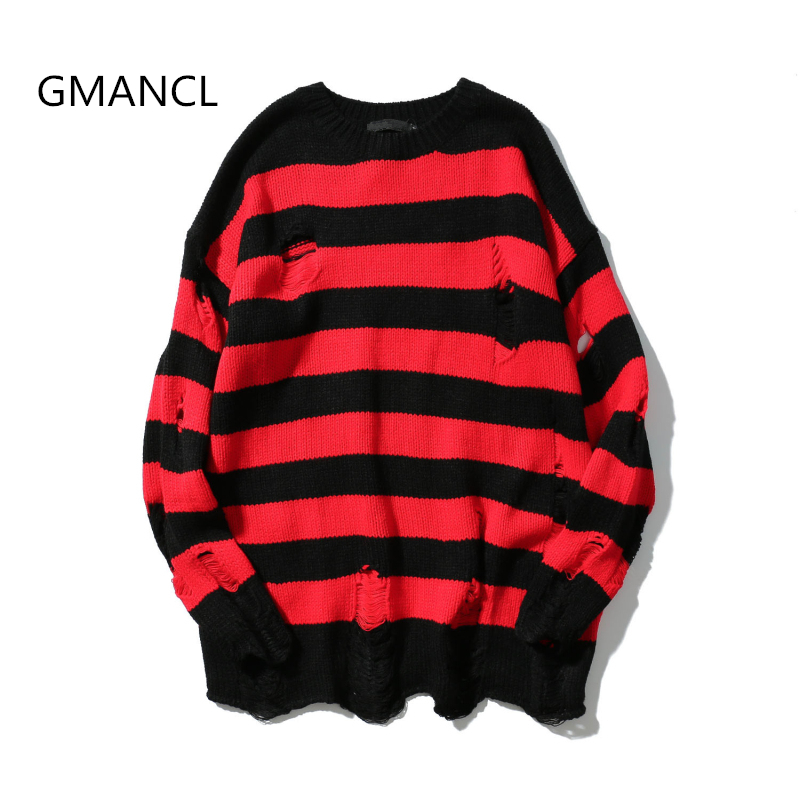 GMANCL Two Colors Mens Ripped Holes Sweater Autumn New Vintage Oversized High Quality Loose Cotton Casual Men Pullovers Sweater