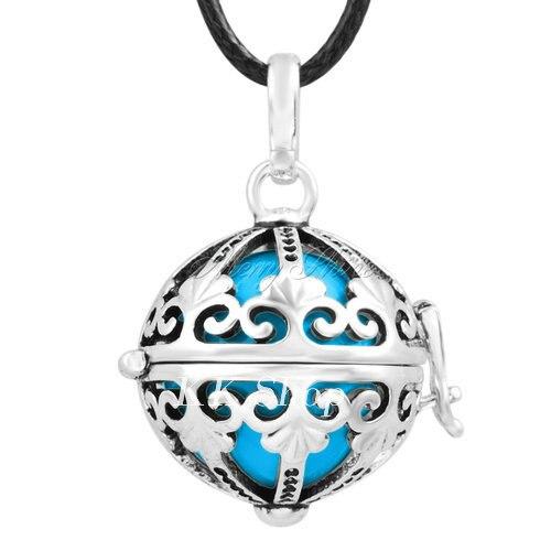 Беременность подарок для ребенка из черненого Медь в форме металлической птичьей клетки кулон ангел абонент Подвески 20 мм Музыкальный шар, гармония Bola кулон Цепочки и ожерелья H119 - Окраска металла: Blue