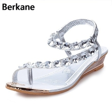 Rhinestone Silver Women Sandals Low Heel Summer Shoes Casual