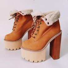 цены Hot Rome Fashion Warm Brow Genuine Leather Ankle Shoe Lace-Up Round Toe Shoe Motorcycle Botas Mujer Square heel Women's Boots