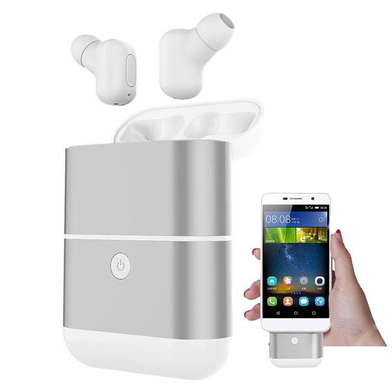 Oreillette Bluetooth sans fil Mini écouteur mains libres stéréo avec boîtier de charge Micro oreillette sport Micro oreillette pour Iphone Huawei
