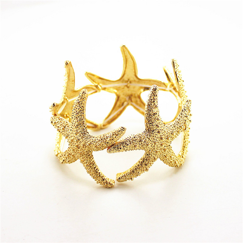 Free shipping Fashion jewelry Fashionable woman gold is simple and easy the starfish bracelet