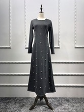 Casual Muslim Cotton Abaya Maxi Dress Beading Long Robe Gowns Kimono Jubah Ramadan Arabic Dubai Caftan Islamic Prayer Clothing